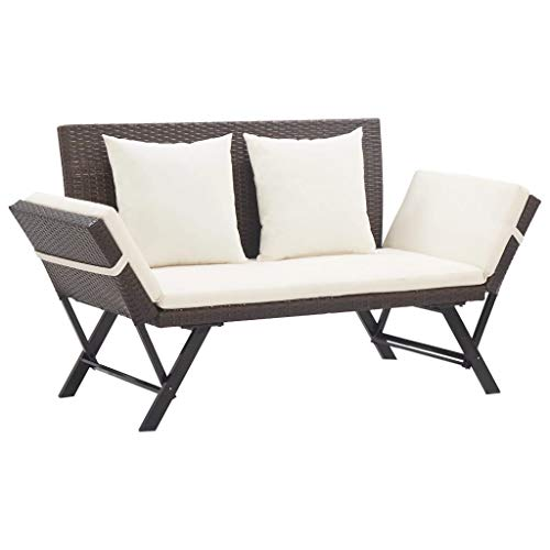 Unfade Memory Patio Bench Loveseat with Cushions, Rattan 2 Person Seating Chair Convertible Daybed (Brown)