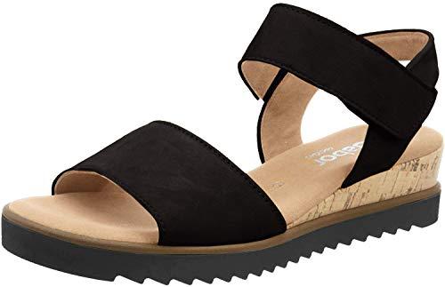 Gabor Damen Sandalen, Frauen Keilsandalen,Comfort-Mehrweite, feminin elegant Women's Woman Freizeit leger Keilabsatz,schwarz (Kork),42 EU / 8 UK
