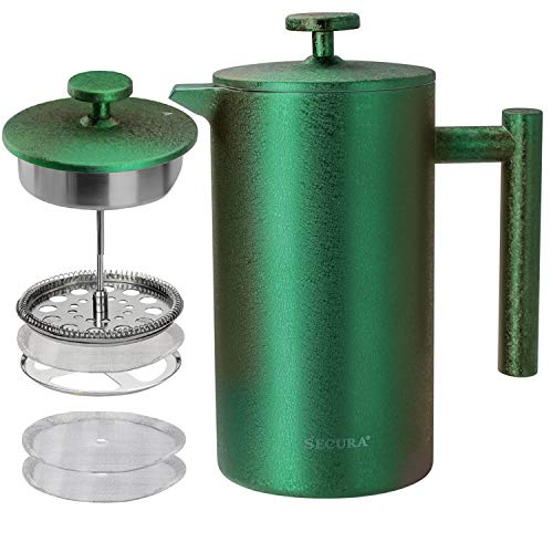 Secura French Press Coffee Maker, 304 Grade Stainless Steel Insulated Coffee Press with 2 Extra Screens, 34oz (1 Litre), Green