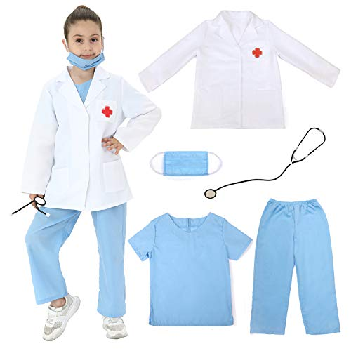 Lingway Toys Kids Pretend Role Play Costumes White Coat with Blue Scrubs and Accessories 4-6years