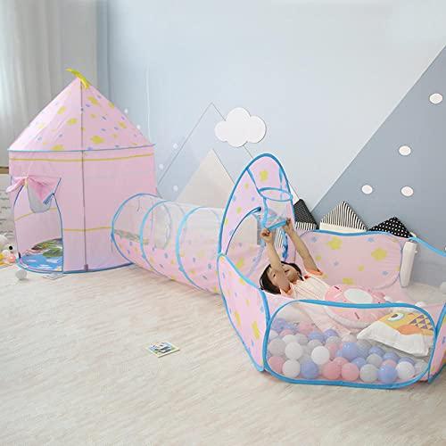 Fnho Tienda Tipi Interior y Exterior para niños,Castle Carpa Toy Play Tent Portable Plegable,Tienda de campaña para niños de Tres Piezas, casa de Juegos Interior-Pink-Deluxe Edition_100 x 135 + 115 x