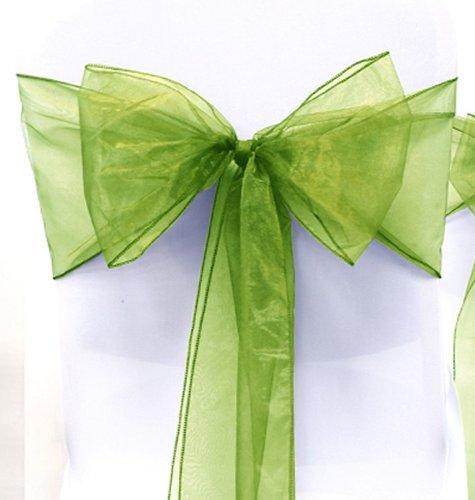 "Dreampartycreation WIDER Shimmer Organza CHAIR BOW Sash 9"" x 115"" (10, SAGE GREEN)"