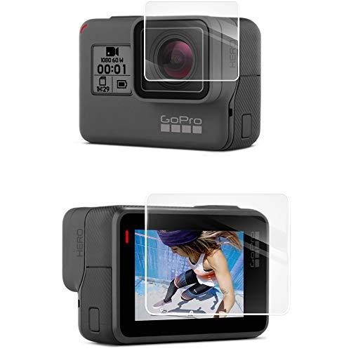Lebama Schutzglas für GoPro Hero 7 und 6 Black Zubehör Schutzfolie Sicherheitsglas Premium Klar 9H Displayschutzfolie Objektivschutz Schutzhülle Displayschutz Displayfolie für GoPro Hero 7 u. 6 Black