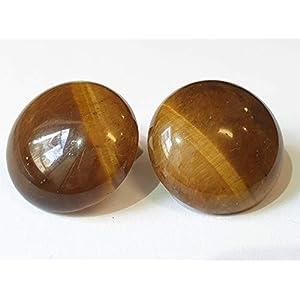 IohanaSchmuck Handmade Ohrclips Ohrklemmen mit Edelsteinen, Tigerauge, rund 2 cm, eigene Herstellung
