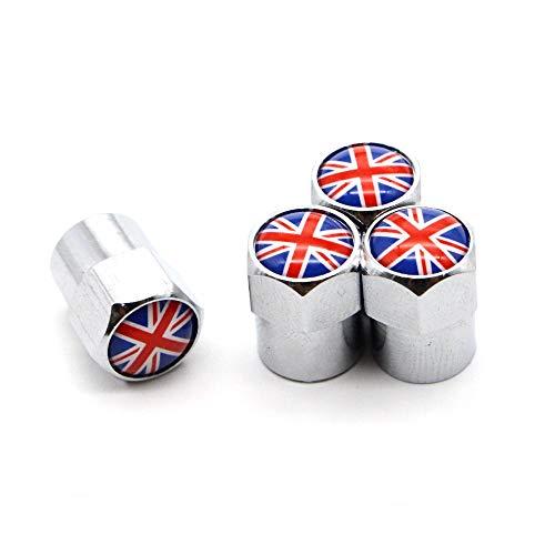 4 Unids/Set Válvula del neumático Tapas de Polvo Inglaterra Bandera Nacional Británica Aleación de Aluminio/Cobre para automóviles