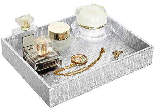 Gurfuy Lady Jewelry Tray, Perfume Tray Organizer, Gold PU Leather Tray for Home Decoration, Used on Nightstand or Bathtub of Bathroom and Living Room (Sliver)…