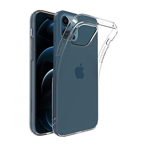 Captor Cover Trasparente per Apple iPhone 12 PRO Max, Custodia TPU in Silicone Flessibile Morbida e Sottile, Protezione Full Body con Bordo Rialzato per Schermo e Fotocamera