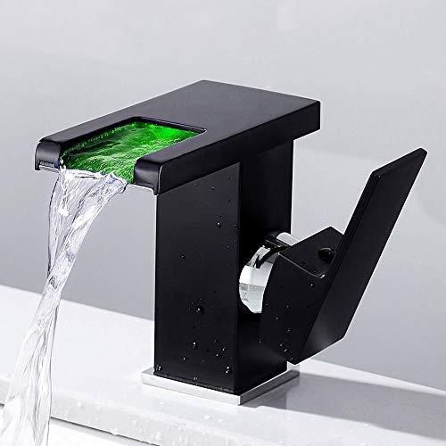 Grifo de Lavabo LED Cascada con Iluminación Grifo Baño Corto Monomando Griferia Mezclador Agua Fría y Agua Caliente para Ducha (negro)