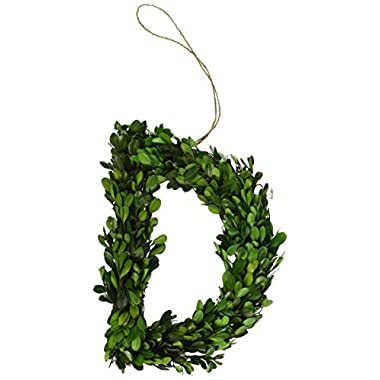 Modern Home 12  Real Preserved Boxwood Monogram Wreath Letters - D