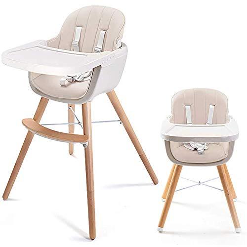 TureFans tronas para bebé, tronas de Bebe, Trona evolutiva, 2 Alturas, Mesa pequeña Ajustable, Patas de Madera de Haya Resistente (CW248024_02)