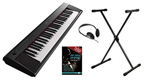 Yamaha Piaggero NP-12B Portable Piano Set (61 anschlagdynamische Tasten, 10 Top-Sounds, Record-Funktion, inkl. Keyboardständer, Kopfhörer und Klavierschule, USB, Batteriebetrieb möglich) schwarz