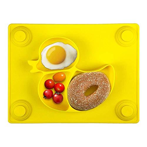 Kinderteller mit Saugnapf - Silikon Rutschfest Baby Teller für Kinder und Kleinkind, Baby Tischset für die meisten Esstische und Hochstuhl-Tabletts - 26x20x3cm(Gelb)
