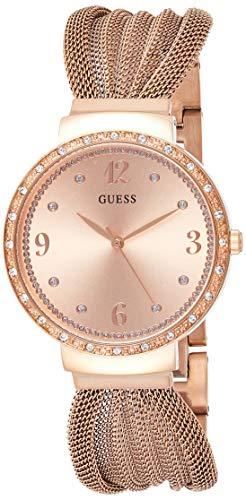 Guess Damen Analog Quarz Uhr mit Edelstahl Armband W1083L3
