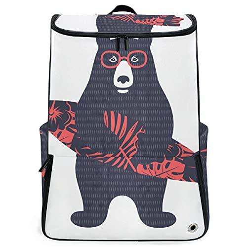 YUDILINSA Viaje Mochila,Camiseta para niños Bear Surfer Vector Illustration,Universitaria Mochila,Laptop Backpack con Compartimento para zapatos