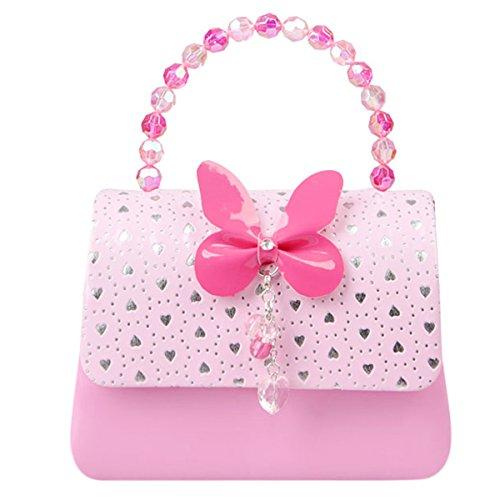 Happy Cherry Klein Mädchen Tasche Prinzessin Tasche Kinder Umhängetasche PU Leder Handtasche Herz Muster Druck Handtasche mit Schmetterling Mittlere Größe 16.2 x 6 x 12.5CM - Rosa