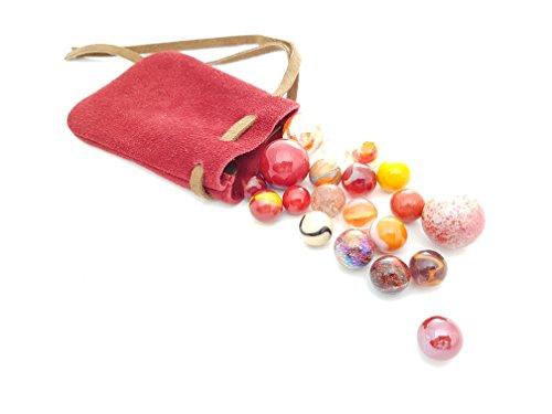 mesbilles Mein Beutel mit murmeln Rot : Ledertasche (10 x 14) und Sein Set mit 20 passenden murmeln