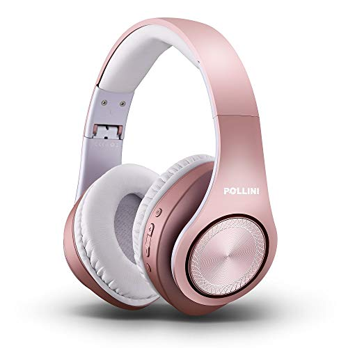 Bluetooth Headphones Over Ear, pollini Wireless Headset V5.0 with Deep Bass, Soft Memory-Protein Earmuffs and Built-in Mic for iPhone/Android Cell Phone/PC/TV (Rose Gold)
