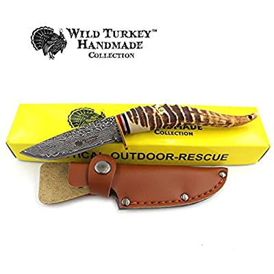 Wild Turkey Handmade Collection Fixed Blade Faux Handle Hunting Knife w/Leather Sheath Included (5105)