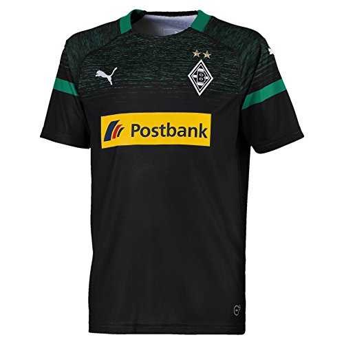 PUMA Kinder BMG Away Replica with Sponsor Logo Trikot, Black/Power Green, 164