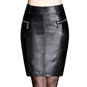 Anna-Kaci Women's Faux Leather Mini Pencil Skirt 1