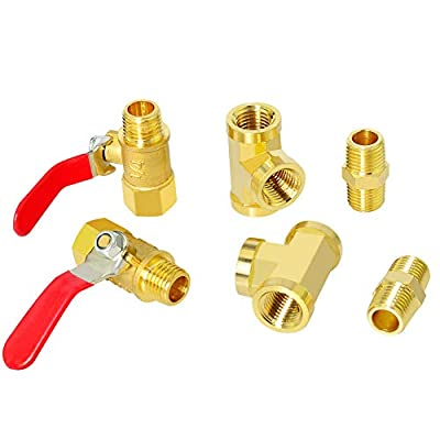 Gasher 6PCS 1/4 Inch NPT Brass Pipe Fitting, Ball Valve, Barstock Tee Brass Pipe Fitting and Air Hose Fitings from Gasher
