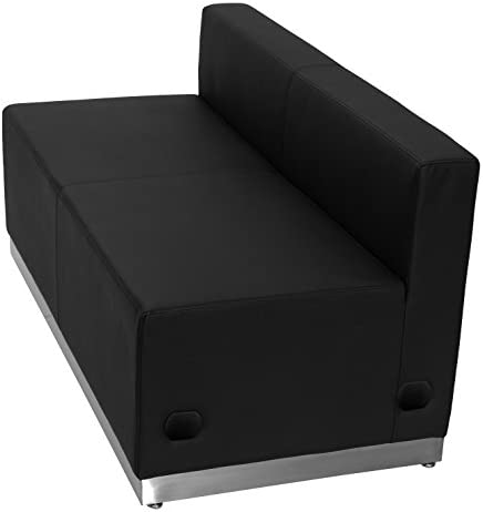 Best Flash Furniture HERCULES Alon Series Black Leather Loveseat with Brushed Stainless Steel Base