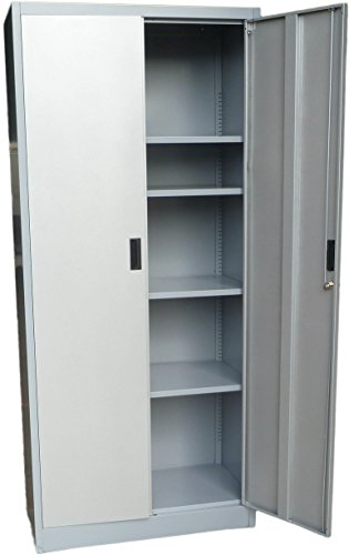 """Fedmax Metal Storage Cabinet 71"""" Tall, Lockable Doors and Adjustable Shelves, 70.86"""" Tall x 31.5"""" W x 15.75"""" D, Great Steel Locker for Garage, Kitchen Pantry, Office and Laundry Room (Gray)"""