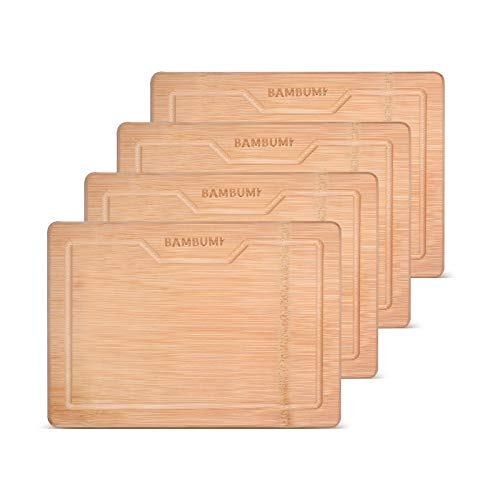 BAMBUMI Frühstücksbrettchen Bambus-Holz, Schnittflächen aus einem Stück Bambus, Holzbrettchen, Servierbrett, Küchenbrett, Brotzeitbrett, 24x17x1,8 cm, 4er Set