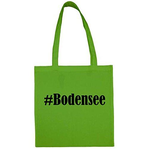 Tasche #Bodensee Größe 38x42 Farbe Grün Druck Schwarz