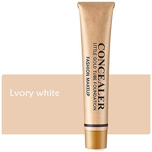Little Gold Tube Full Coverage Foundation Anti-cernes, Crème de Couverture de Maquillage Imperméable Longue Durée, Liquide léger, pour le Tatouage des Yeux Noirs (Blanc ivoire)