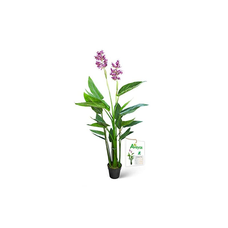 silk flower arrangements aveyas 5ft artificial canna violet tree with purple flower in plastic nursery pot, fake plant for office house living room home decor (indoor/outdoor)