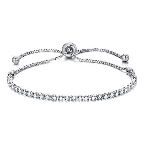 Pulseras de moda para mujer con diamantes de imitación y circonita cúbica, pulsera de moda ajustable, joyería elegante (Color del metal: plata)
