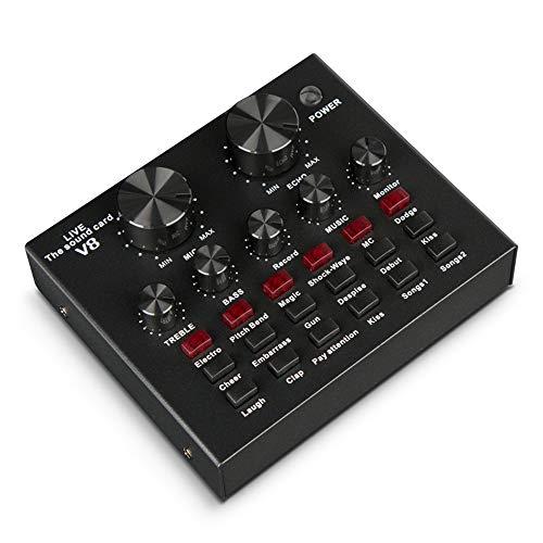 ALAN Mesa de Mezclas USB Mezclador de Sonido V8 Sound Mixer