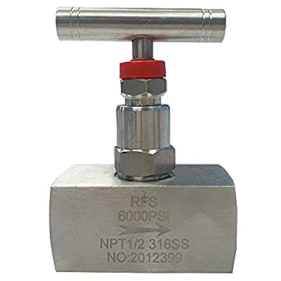 """RFS Stainless Steel 316 Straight Needle Valve, 3/4"""" NPT Female Connection, up to 6000 PSI, 2 Port Heavy Duty Industrial Hydraulic Flow Control Valve for Piping Needs from RFS"""