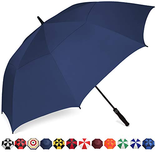 BAGAIL Golf Umbrella 68/62/58 Inch Large Oversize Double Canopy Vented Automatic Open Stick Umbrellas for Men and Women(Navy,58 inch)