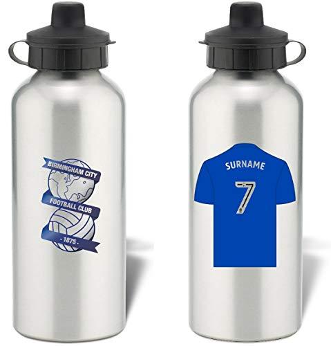 Personalised Birmingham City FC Shirt Aluminium Sports Water Bottle - Silver Bottle