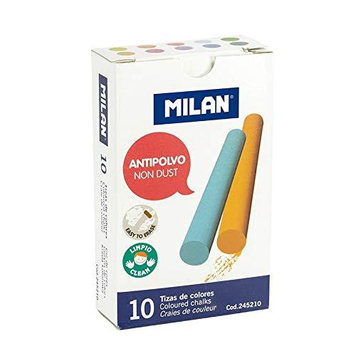 Milan - Caja 10 tizas antipolvo de colores