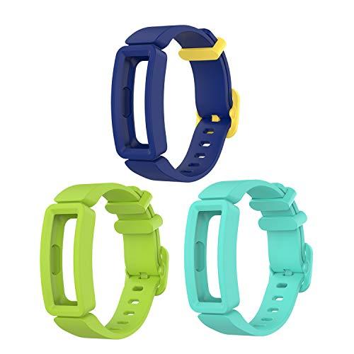 Tencloud Correas de repuesto compatibles con correa Fitbit Ace 2, muñequeras flexibles de silicona suave para Inspire 2/Inspire HR/Inspire/Ace 2 Activity Tracker (verde azulado+lima y azul amarillo)