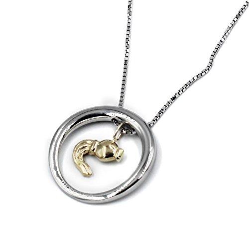 Morellato collana in Acciaio Lucido con Ciondolo Segno Zodiacale Acquario Oro 18 Kt