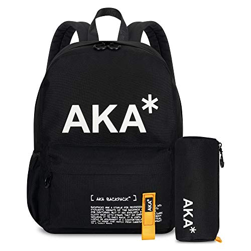 AKA* Brixton Backpack - Black Waterproof School Bag with Laptop Compartment & Free Pencil Case - Designer Schoolbag