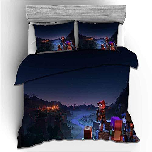 Meiju Duvet Cover Set for Boy Girl Single Double King Bed, 3D Printed Teenager Children Kids Bedding Set with Microfiber Zipper Quilt Case & Pillowcases (Minecraft 3,220x260cm)
