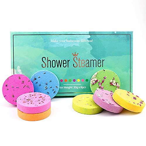 Bombas de ducha para mujer, 8 piezas de vapor de ducha, spa hotel, aceite esencial baño ducha sal ducha, tabletas de aceite esencial de ducha, tabletas de baño, regalos para mujeres