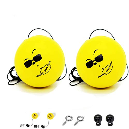 Double Garage Parking Aid   Ball Guide System,Parking Assistant kit Includes 2 retracting Ball with rope,2 adjustable clip and 2 hooks,Perfect Garage Car Stop Indicator for all Vehicles