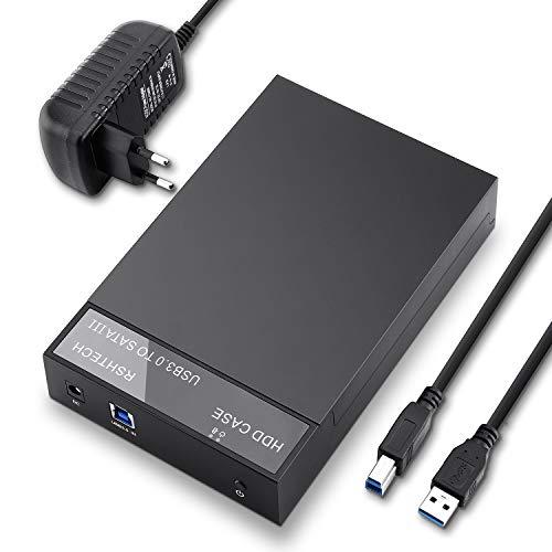 RSHTECH USB 3.0 SATA Festplattengehäuse für 3,5''/2,5'' SSD & HDD Externe HDD Gehäuse Festplatten Gehäuse mit USB 3.0 Kabel unterstützt bis zu 6 Gbps & 16TB Laufwerke mit 12V 2A Netzteil, RSH-319