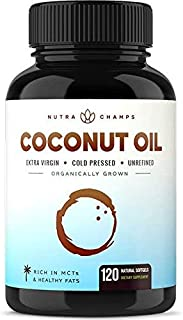 Organic Coconut Oil Capsules 2000mg - 120 Softgels Extra Virgin, Unrefined, Cold Pressed, Unfiltered 1000mg Pills Rich in ...