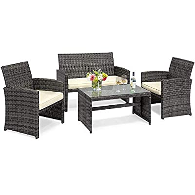 Goplus 4-Piece Wicker Patio Furniture Set with Weather Resistant Cushions and Tempered Glass Tabletop, Rattan Sofa Conversation Set for Outdoor Garden Lawn Pool Backyard (Mix Gray)