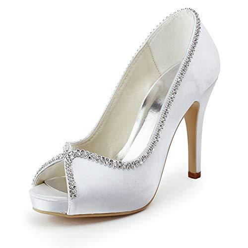 Emily Bridal Zapatos de Novia Peep Toe Rhinestones de Mujer Slip On...
