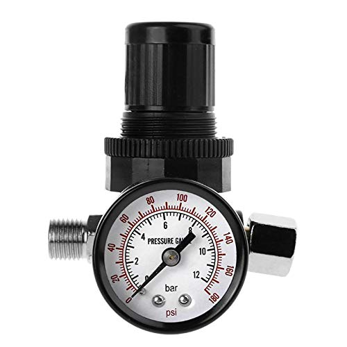 "HGFHGD 1/4""Manometer Druckminderventil Druckminderventil 12Bar 180 PSI Manometer Druckventil Manometer"