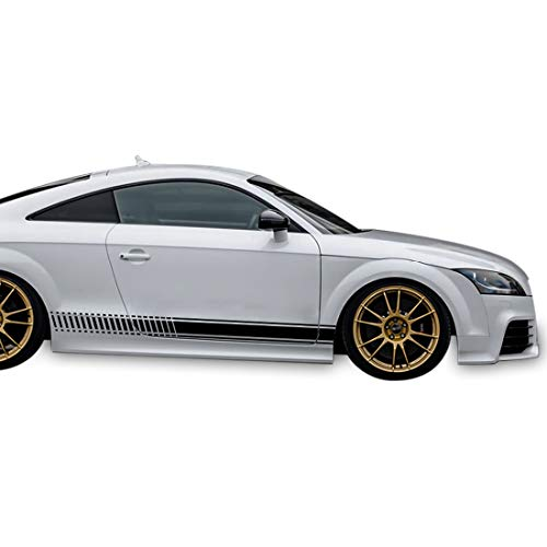 Bubbles Designs Decal Sticker Vinyl Side Racing Stripes Compatible with Audi TT RS TTS 2006-2014 (Black)