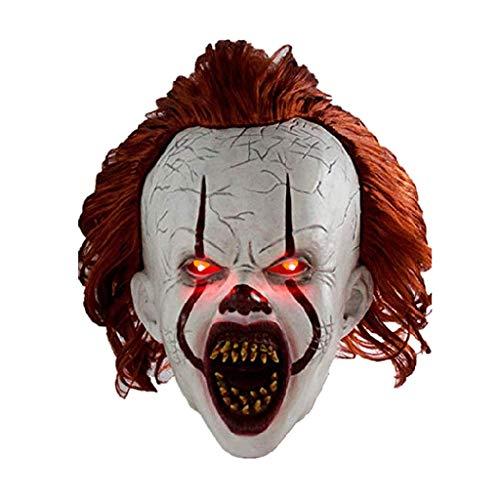 rryilong Maske für Halloween, gefürchtet, Zwei, erschreckend, LED-Licht, Cosplay, Flash, Halloween-Kostüm, Clown-Maske